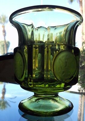 """Beautiful Vintage Cigarette Holder Fostoria Green Coin Footed 3.5"""" Glass"""