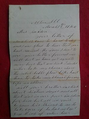 1864 CIVIL WAR LETTER from brothers wife to soldiers sister