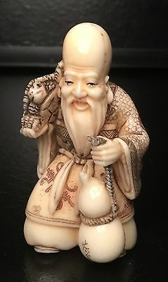 Authentic, Signed Late 18Th-19Th Cent(Meiji?)Netsuke Holy Man Figure