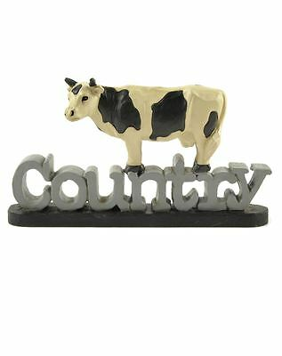 Country Cow Resin Figurine Blossom Bucket Farm Rustic Primitive