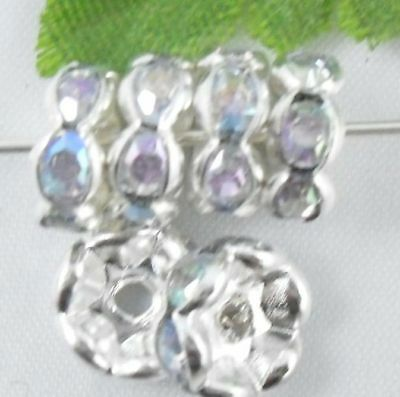Free Ship 100pcs Silver Plated spacer bead 8mm White AB
