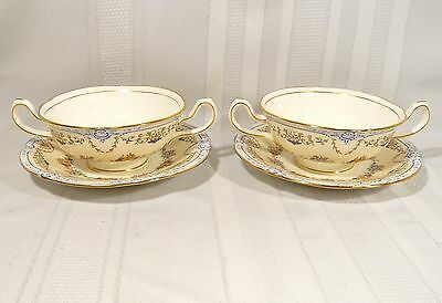 2 CREAM Soup with Underplates  MINTON OXFORD China Pattern S71