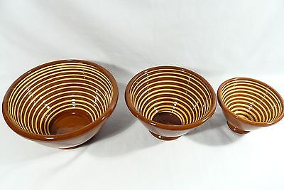3 Signed Kenneth HENDERSON Redware ART POTTERY  NESTING Serving Bowls AMERICAN