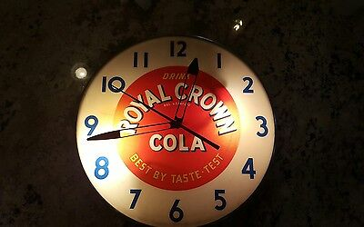 VINTAGE ROYAL CROWN COLA LIGHTED WALL CLOCK by The Ohio Advertising Display Co