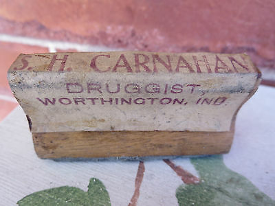Antique Wood & Rubber Druggist Stamp S H Carnahan Worthington Ind Indiana IN