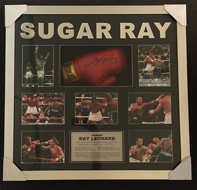 SUGAR RAY LEONARD SIGNED FRAMED BOXING GLOVE with Photos And Summary Of Achiev…