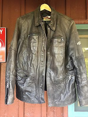 Harley Davidson Leather Jacket Womens Size Large Distressed Look