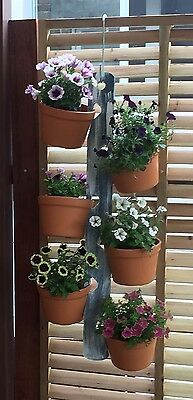 Blue/white painted handmade timber 6 pot plant hanger with 6 plastic pots