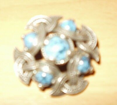 Vintage Celtic knot brooch pin shawl etc.infinity knot 5 blue turquoise gemstone