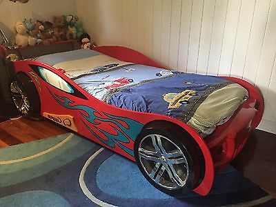 Kids Awesome Racer Red Car Bed (3D Wheels)