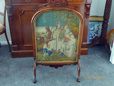 Antique Fireplace Screen Tapestry with wood surround enclosed with glass