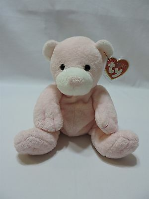 Ty Pluffies Pudder Teddy Bear Pink White Soft Plush TyLux 2003 MWMT