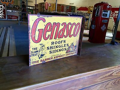 Original 1930's Genasco Shingles Advertising Flange Sign Gas Oil Wow!