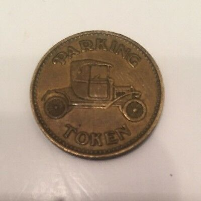 Brass Parking Token Coin Antique Model T Ford Bald Eagle Reverse Vintage RARE
