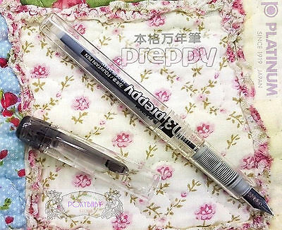 Platinum Preppy PPQ-200 Fountain Pen Clear BLACK 0.5 Medium BLACK ink