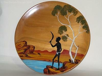Large Signed Bill Onus Hand Painted Wooden Charger, Signed 'Coolah'. 33 cm Diam.