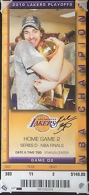 Kobe Bryant Signed Lakers NBA Finals 14x31 Canvas Mega Ticket Panini COA #5/24