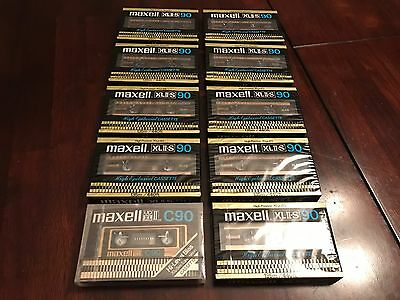 10 Maxell High-Bias Cassette Tapes 90 Minutes - Sealed Vintage New