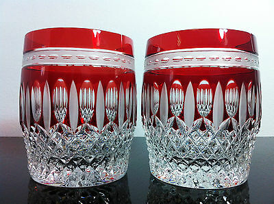 Pair Ajka Ruby Red Clarendon Whiskey Tumbler / Water Glasses