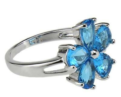 18K Gold Filled Aquamarine Rings Jewelry for Men and Women Bands 9#