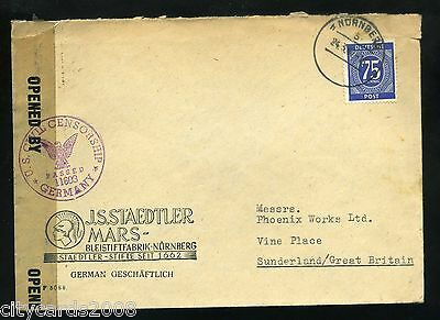 1946 MILITARY  Occupation Germany USA Censorship Civil Mail Cover sent to UK #1