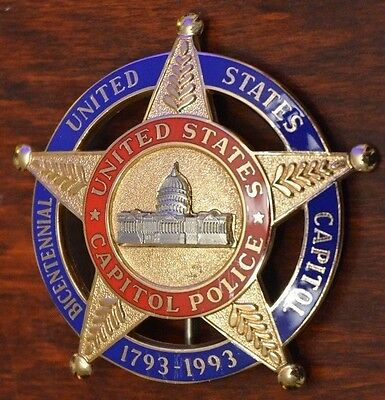 Obsolete 1793-1993 CAPITOL POLICE Badge Bicentennial United States Blackinton