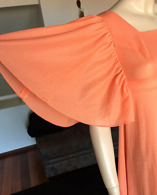 1970s Coral Angel Sleeve Maxi Dress Size Small