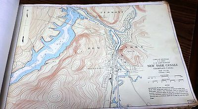 1952 Map Champlain Canal Going Through Whitehall Ny To Lake Champlain