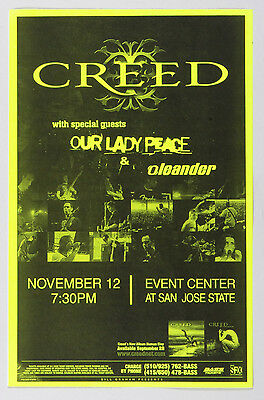 Creed Poster w/ Our Lady Peace Oleander 1999 Nov 12 Event Center San Jose