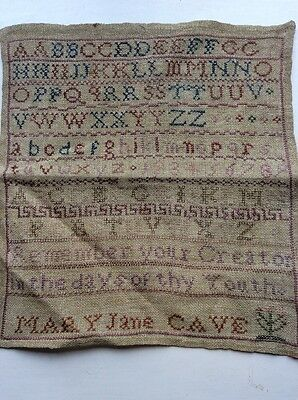 Antique Sampler, Mary Jane Cave, Letters, Text, Flower,