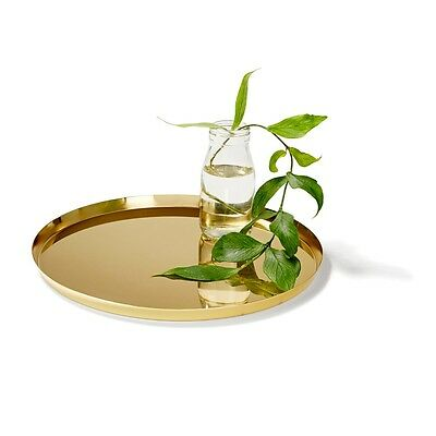 Brass Gold Coloured Decorative Metal Serving Tray 30cm BRAND NEW