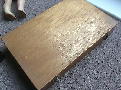 VINTAGE WOODEN SLIDE STORAGE BOX, Scotland.... JRD Golden Guinea CASE