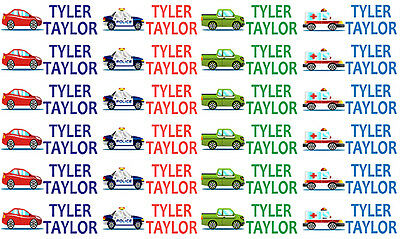 Car Lunchbox Drink bottle school labels personalised Name Tag Stickers pack x 24