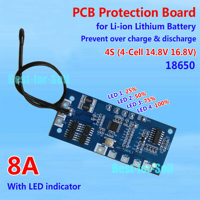 Protection Board for 4 Packs 16.8V Li-ion Lithium 18650 Battery charger 8A w/LED