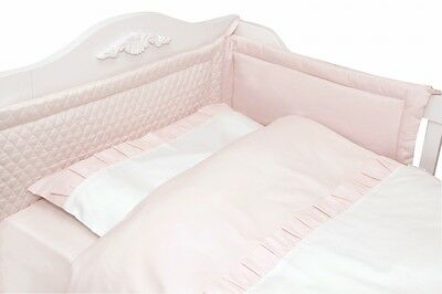 New Luxury Baby Girl Pink & White Qulted Bedding Set 3Pcs !