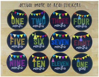 NEW - Baby Monthly Stickers Unisex Boy or Girl Memory Keepsakes Chalkboard Flags
