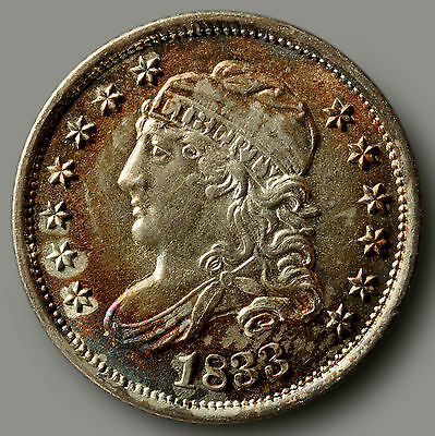 1833 Capped Bust Half Dime – Uncirculated (63) – Spectacular Toning!