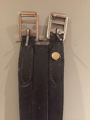 """Black Padded English Leather Girth with Elastic 50"""""""