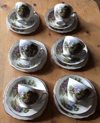 VINTAGE ROYAL VALE BONE CHINA COTTAGE SET OF 6 TRIOs