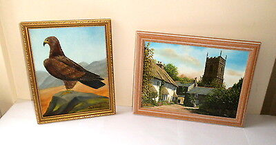 Painting Of A Golden Eagle & Church Print