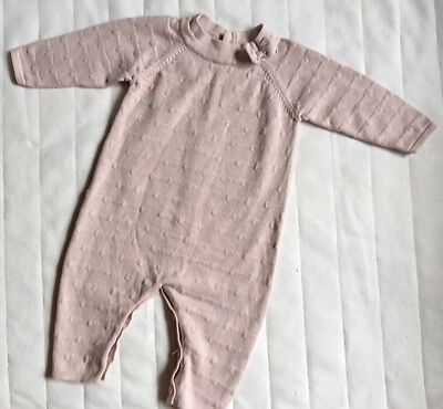 Baby Girl 3-6 Months Knit Bow Romper Mamas and Papas