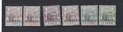 MAURITIUS, ILE MAURICE, 1895 Superb Specimen Arms set SG 127s-132s lightly mount