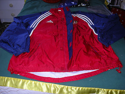 """Adidas-Wigan Rugby League Showerproof Jacket Red Size 44""""-46"""""""