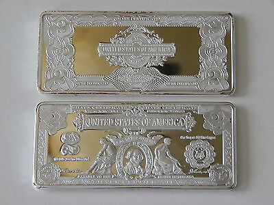 1 Troy Oz 1899 Series $2 Washington Silver Certificate .999 Silver/copper Bar