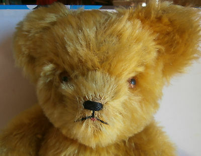 LOWER SALE PRICE/ charming antique / deep gold DEEP LONG mohair FUNNY  FACE