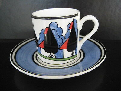 Clarice Cliff Wedgwood May Avenue Coffee Can Cup & Saucer Deco Pottery Cafe Chic