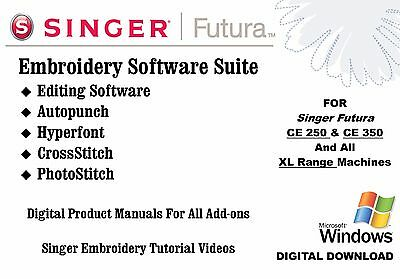 Singer Embroidery Software Suite - AutoPunch, Editing, Hyperfont & Photostitch