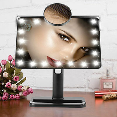 20 LEDs Adjustable Tabletop Lighted Makeup Cosmetic Vanity Mirror 10X Magnifier