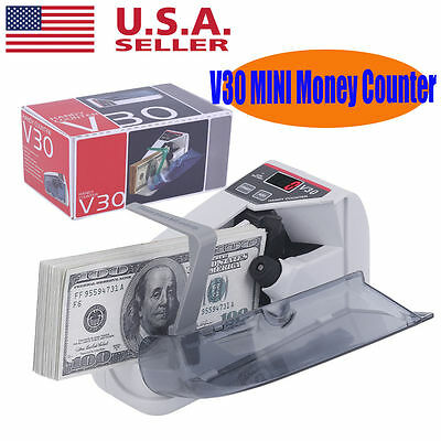 Handy Bill Cash Count Portable Mini Money Currency Counter Machine LED Display V