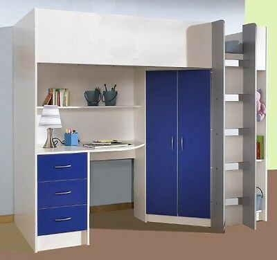 High Sleeper Cabin Bed With Wardrobe And Desk